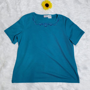Liz Baker Short Sleeves Turquoise Shirt Size L